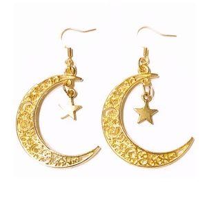 Gold Moon Drop Earrings